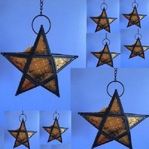 8 Golden Star Hanging Amber Lantern Wedding Party Decor - $97.00