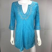 Old Navy Women's Small Blue Long Sleeve V Neck Shift Dress - $14.83