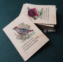1860s antique victorian COCK ROBIN PLAYING CARDS game hand colored art - $125.00