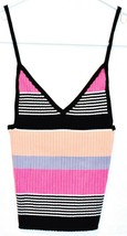 Kendall & Kylie Women's Pink Black Striped Ribbed Knit V-Neck Tank Top Size XS
