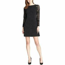 Tommy Hilfiger Womens Black Long Sleeve Above The Knee Shift Party Dress... - $59.99