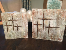 Textured Paint with Glass 3 Cross painting, Christian, Religious, Religi... - $45.00+