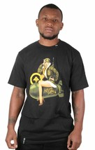 LRG Men's Black or Putty Killen EM Softly Sexy Pinup Army Girl Bomb T-Shirt NWT
