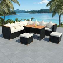 vidaXL Outdoor Dining Set 29 Pieces Wicker Poly Rattan Black WPC Garden ... - $708.99