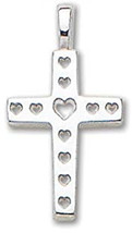 PicturesOnGold.com Solid  Small Heart Cross - 1/2 Inch X 3/4 Inch - $75.70