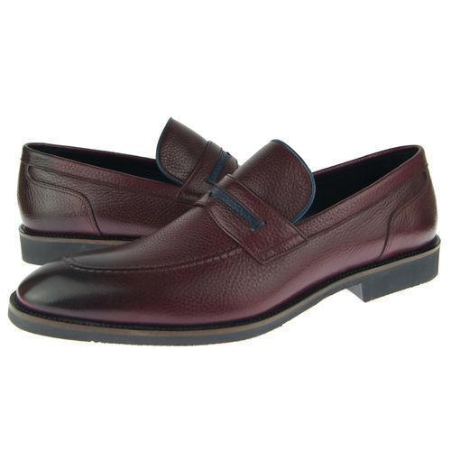 Men Burnished Apron Toe Maroon Color Black Sole Vintage Leather Loafer Shoes