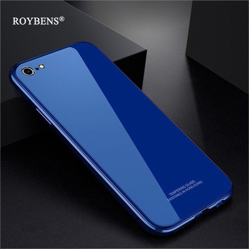 Roybens® Iphone 6 6S Phone Case Tempered Glass + Plating PC+Metal Bumper 3 In 1