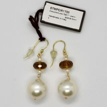 Yellow Gold Earrings 18K 750 Pearls Water Dolce and Quartz Beer Made in Italy image 3