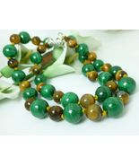 Green Malachite and Golden Tiger Eye Round Gemstone Beaded Necklace - $65.00