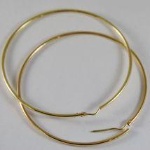 18K YELLOW GOLD EARRINGS BIG CIRCLE HOOP 63 MM 2.48 INCH DIAMETER MADE IN ITALY image 3