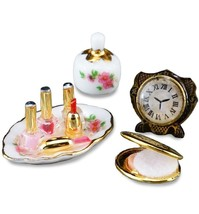 DOLLHOUSE Perfume & Compact Set 1.716/5 Clock Nail Polish Reutter Miniature - $24.86