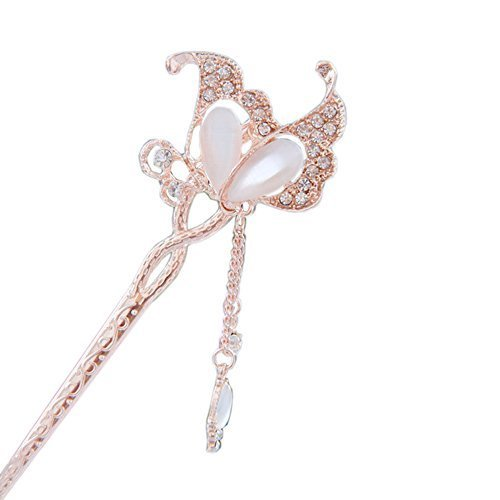 "5.9"" Chinese Traditional Metal Opal Butterfly Ladies/ Girls Hair Stick, WHITE"