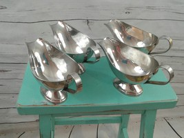 Lot 4 16 oz Stainless Steel Gravy Sauce Boat Restaurant Catering Party W... - $33.30