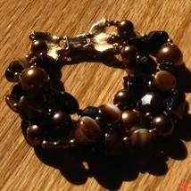 Vintage crown trifari autumn amber bronze art glass triple strand bracelet3 thumb200