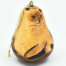 Handcrafted Carved Gourd Art Siamese Cat Kitten Kitty Ornament Handmade in Peru