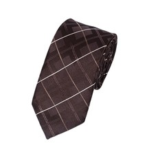 Men Classic Plaid Grid Tie Polyester Formal Necktie Coffee - $14.71