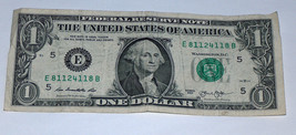2013 $1 One Dollar Bill 811 118 End Caps 81124118 Fancy Serial # US Note Bank - $12.86