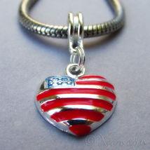 American Flag Heart European Charm - Red White Blue Pendant Bead For Bracelets L - $16.00