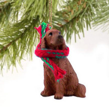 IRISH SETTER  DOG CHRISTMAS ORNAMENT HOLIDAY Figurine Scarf - $9.50