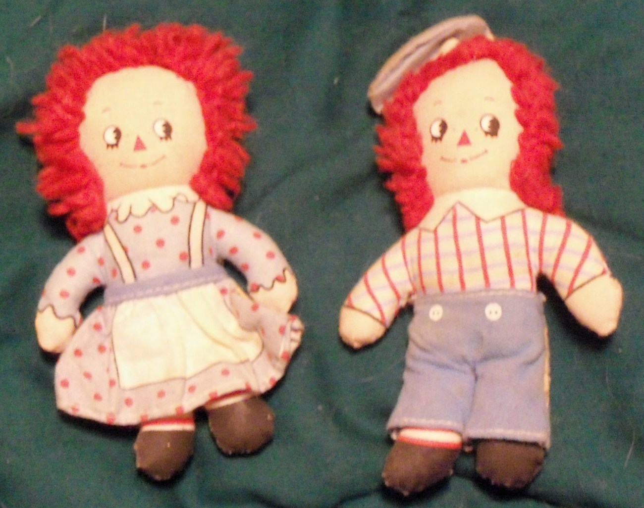 "Primary image for Classic Mini Raggedy Ann and Andy dolls 4 almost 5"" tall Very Nice"