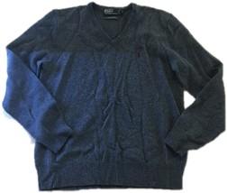 Men's Polo Ralph Lauren 100% Cotton Navy Blue Crew Neck Sweater Medium E55 - $16.44