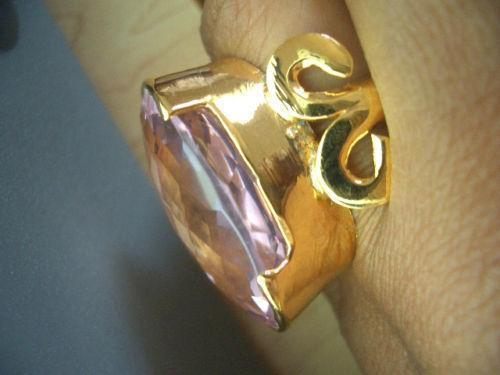 EXTRAVAGANT AMAZING STERLING 30X21MM PINK KUNZITE RING avlb