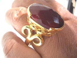 BIG 23X18MM AMAZING RED GARNET FILIGREE RING SIZE 10.25 - $80.00