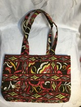 VERA BRADLEY MEDIUM TOTE BAG DARK BROWN PINK & ORANGE - £3.85 GBP