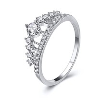 Cubic Zirconia Crystal Fashions Crown Shape Ring For Women Engagement Ri... - $7.99