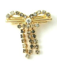 Dangle Rhinestone Bow Gold Tone Brooch Pin Fashion Jewelry  - $13.00