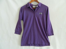 TCU Officially Licensed Cotton\Polyester Womens LS Polo Shirt Size M - $16.99