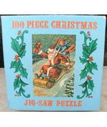 100 Piece Merrimack Christmas Mini Jigsaw Puzzle Santa on Sled - $20.00