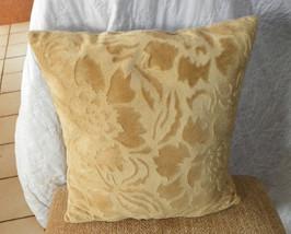 Gold Flower Print Velvet Throw Pillow - $16.95