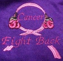 Pink Ribbon T Shirt L Awareness Boxing Gloves Purple Fight Back Breast C... - $22.51