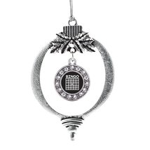 Inspired Silver Bingo Circle Holiday Decoration Christmas Tree Ornament - $14.69