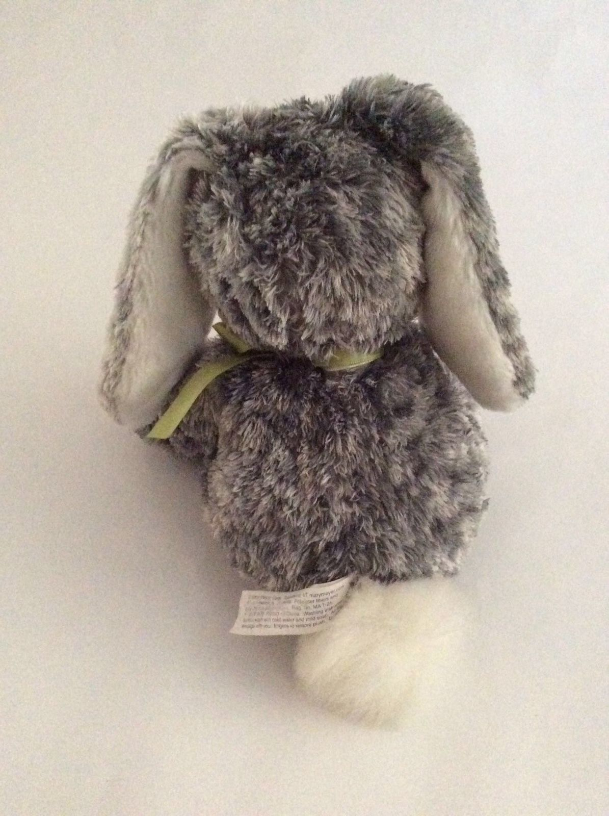 "MARY MEYER Sweet Rascals gray silver white BUNNY RABBIT W/ GREEN BOW 9"" plush"