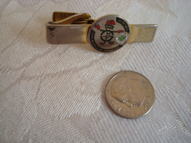 Vintage Delco Radio Tie Clasp ~ Clip ~ Wheels of Progress