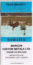 Ontario Matchbook Cover Kitchener Marcon Custom Metals - $1.89