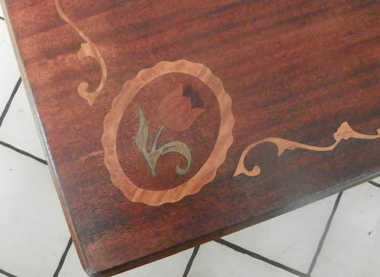 Mahogany Satinwood Rosewood Inlaid Coffee Table