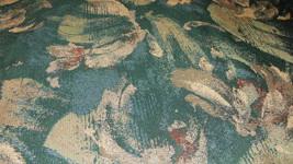 Green Beige Burgundy Print Jacquard Upholstery Fabric 1 Yard  F681 - $19.95