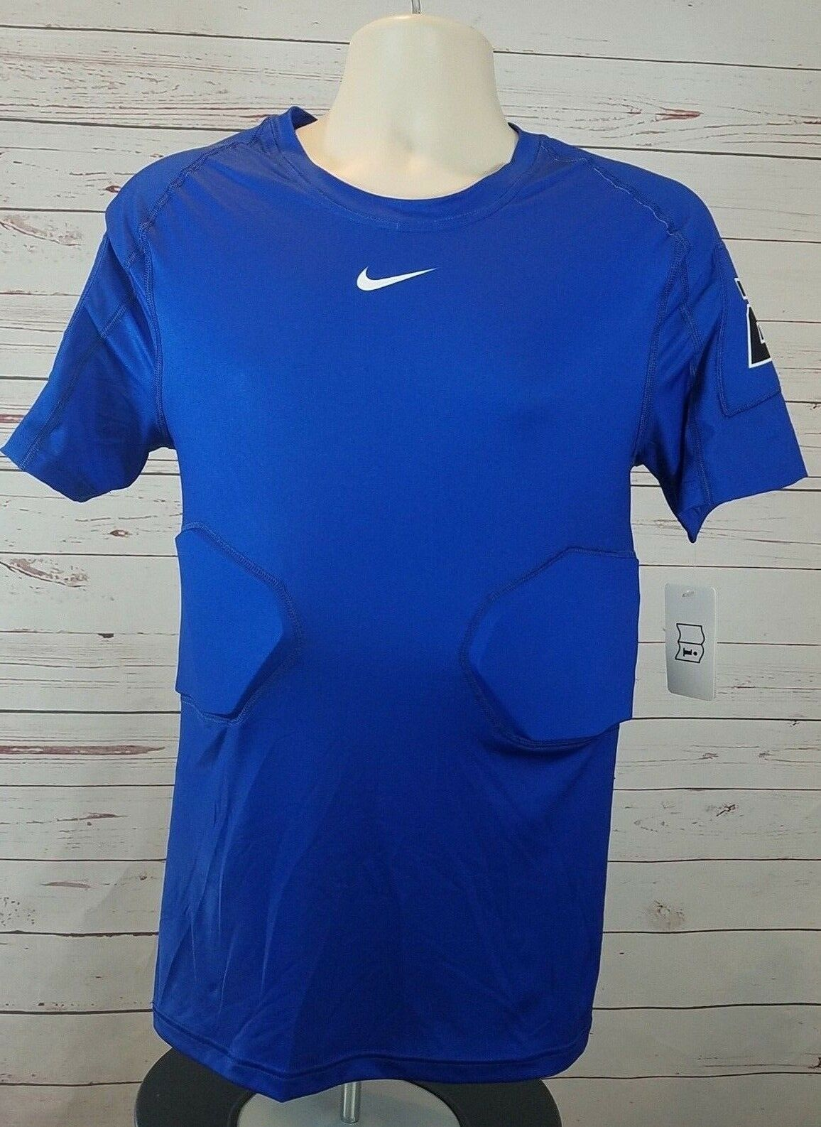 Primary image for NIKE Pro Hyperstrong Team 4 Pad Blue Compression FOOTBALL Top Shirt Large #24