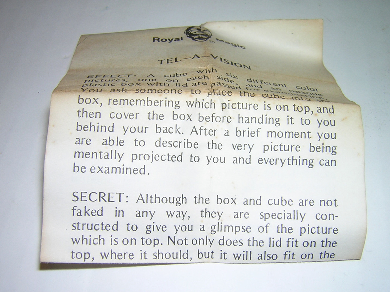 Royal Magic Tel-a-vision box E.S.P. Magic Trick