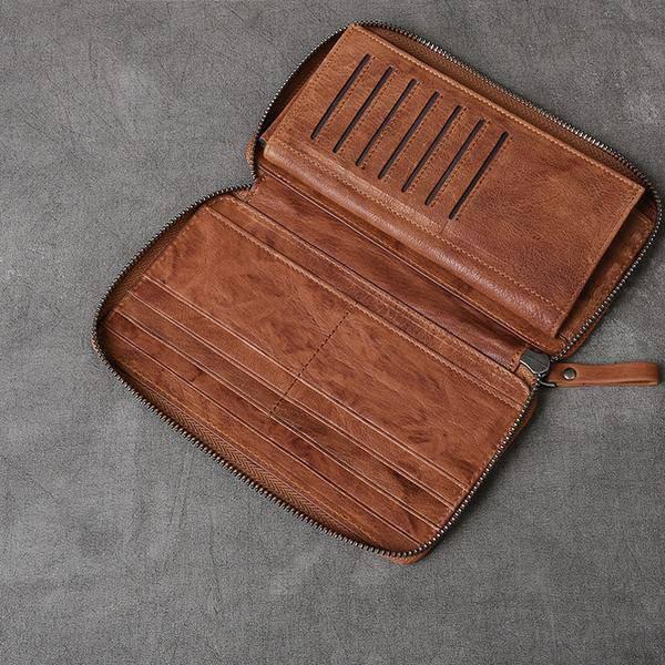On Sale, Full Grain Leather Long Wallet, Handmade Card Holder Wallet, Long Clutc image 4