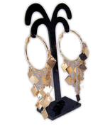 Earrings Gold Color Hoops with Dangles - $2.99