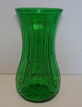 Hoosier Green Glass Vase Tri Lyre Pattern 4086-B 6A Rare Vintage Flared - $12.49