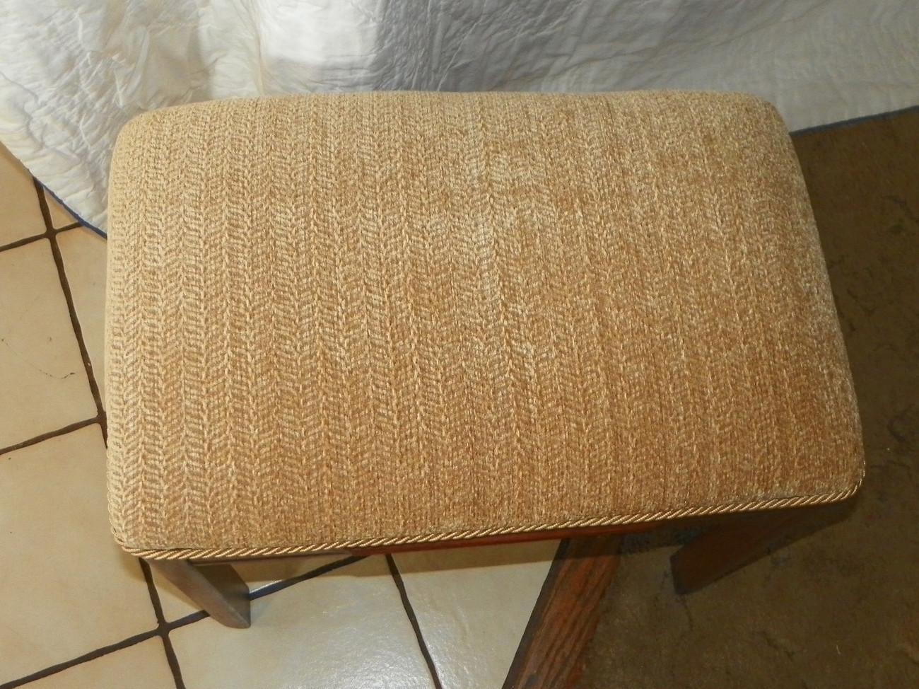 Mahogany Vanity Bench / Hall Bench / Gold Herringbone Print Chenille