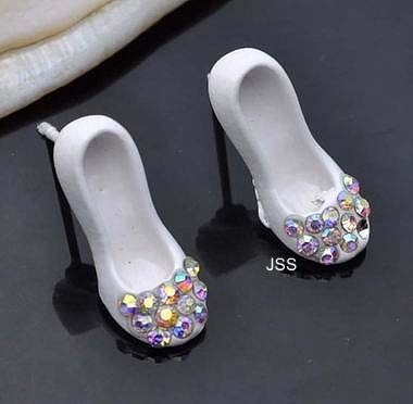 Jss white shoe diamante fancy stud earrings 1