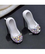 Classic Little White Heel Rhinestone Earrings - $13.95