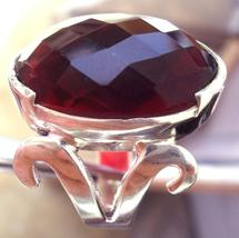 HUGE 22X17MM CHECKER CUT GARNET FILIGREE RING avlb - $24.00