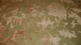 Green Harvest Gold Print Chenille Upholstery Fabric 1  Yard  R695 - $29.95